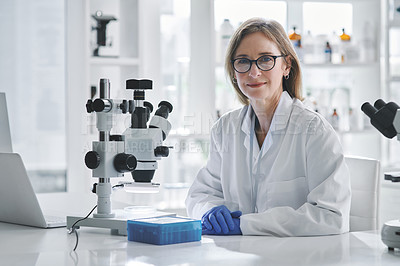 Buy stock photo Portrait of a mature scientist working in a lab
