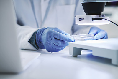Buy stock photo Closeup shot of an unrecognisable scientist analysing samples in a petri in a lab