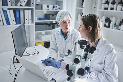 Buy stock photo Shot of two mature scientists working together on a laptop in a lab
