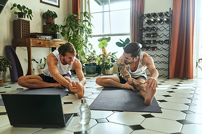 Buy stock photo Shot of two men using a laptop while going through a yoga routine at home