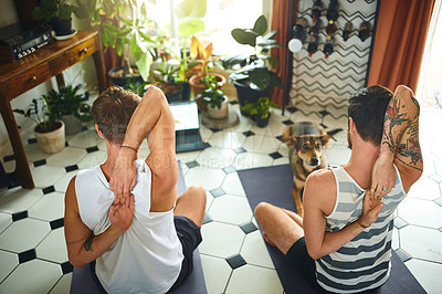 Buy stock photo Shot of two men using a laptop during a yoga routine at home while their dog watches