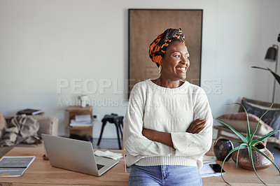 Buy stock photo Shot of a young woman in her home office