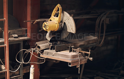 Buy stock photo Shot of a power tool in a foundry