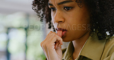 Buy stock photo Closeup shot of a young woman biting her nails