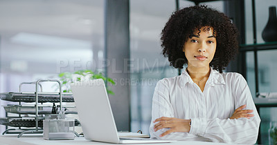 Buy stock photo Portrait of confident young businesswoman using a laptop in a modern office