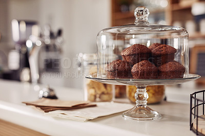 Buy stock photo Cropped shot of muffins on a cafe counter