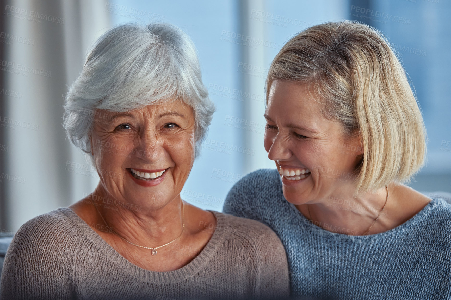 Buy stock photo Portrait of a senior woman spending time with her daughter at home