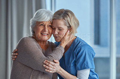 Buy stock photo Shot of a senior woman being cared for by a nurse at home