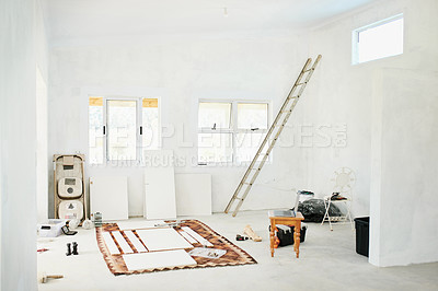 Buy stock photo Shot of an empty room in a house that's being renovated