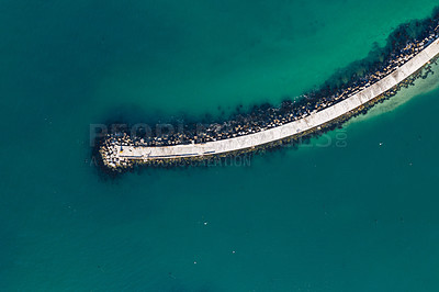 Buy stock photo High angle shot of a pier at sea