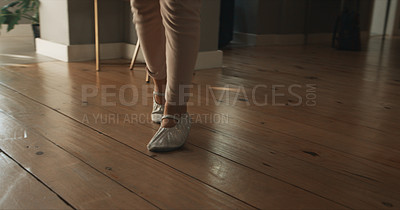 Buy stock photo Cropped shot of a little dressed up as a ballerina at home
