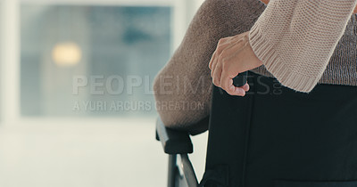 Buy stock photo Cropped shot of a woman pushing her senior mother in a wheelchair