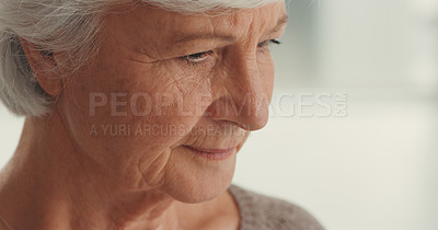 Buy stock photo Shot of a senior woman looking sad in a nursing home