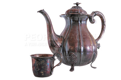 Buy stock photo Vintage coffee pot made of brass