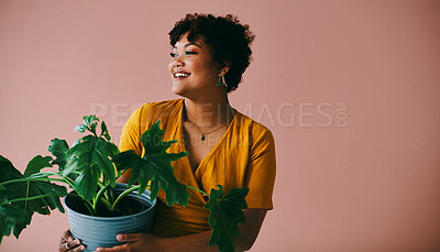 Buy stock photo Shot of a young woman holding a plant against a brown background