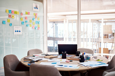 Buy stock photo Cropped shot of an empty boardroom inside of a creative office