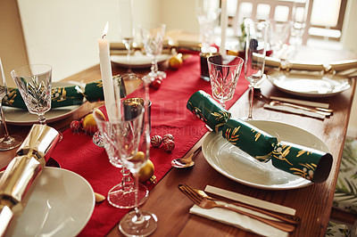 Buy stock photo Shot of a place setting on a table at Christmas