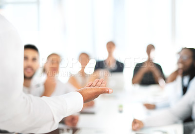 Buy stock photo Closeup shot of an unrecognisable businessman giving a presentation in an office