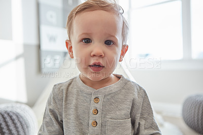 Buy stock photo Portrait of an adorable little boy at home