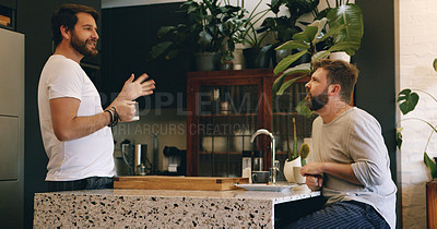 Buy stock photo Shot of a mature couple having coffee and a chat at home