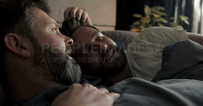 Buy stock photo Cropped shot of an affectionate mature couple resting in their bed at home