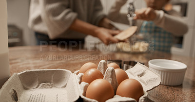 Buy stock photo Cropped shot of baking ingredients on a kitchen table