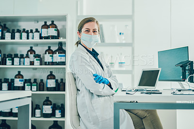Buy stock photo Portrait of a confident scientist conducting research in a laboratory