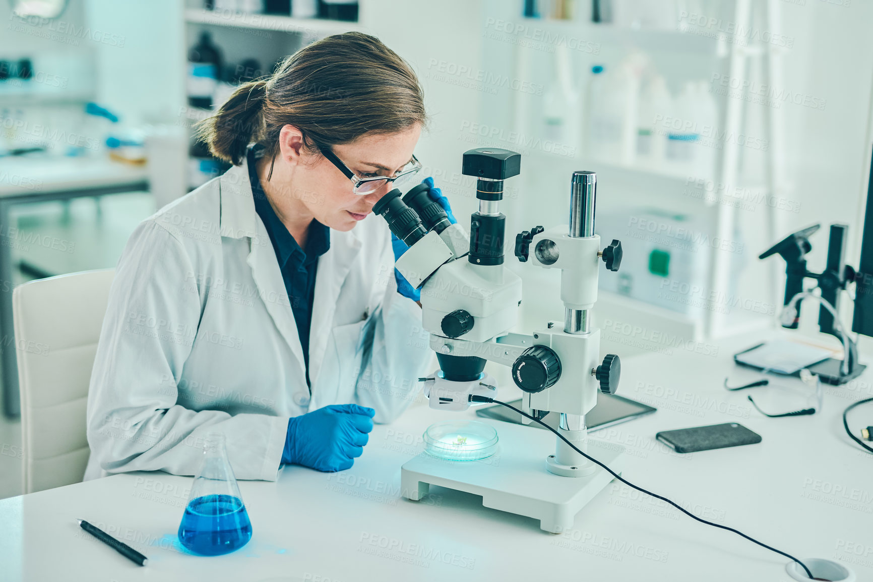 Buy stock photo Shot of a scientist using a microscope in a laboratory