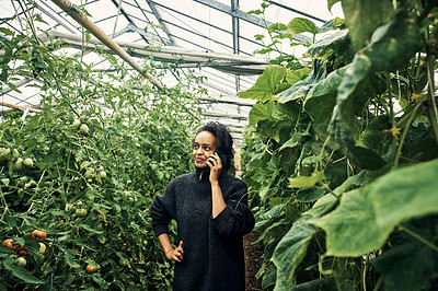 Buy stock photo Shot of a young woman talking on a cellphone while working in a greenhouse