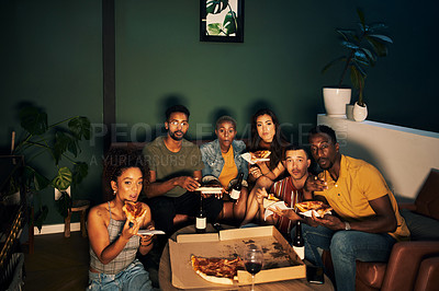 Buy stock photo Shot of a group of friends eating pizza while hanging out together