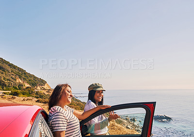Buy stock photo Shot of a woman and her daughter out on a road trip