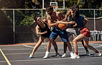 You can play basketball with a playful or competitive spirit