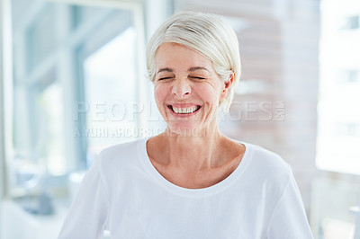 Buy stock photo Portrait of a mature woman standing in a bathroom at home