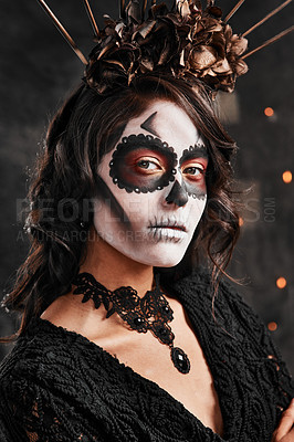 Buy stock photo Cropped portrait of an attractive young woman dressed in her Mexican-style halloween costume