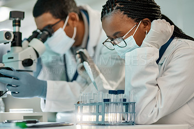 Buy stock photo Shot of a young scientist working with samples alongside a colleague in a lab