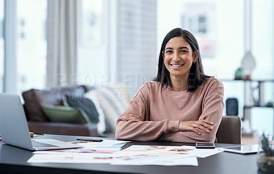 Buy stock photo Portrait of a confident young woman working from home