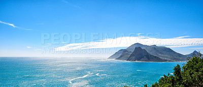 Buy stock photo A photo mountains, coast and ocean from Shapmanns Peak, with Hout Bay in the background. Close to Cape Town