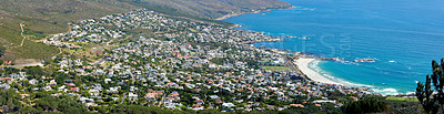 Buy stock photo Panorama photo Camps Bay Western Cape, South Africa