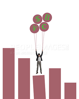 Buy stock photo Shot of a businessman holding on to a bunch of cryptocurrency balloons on top of a graph against a white background