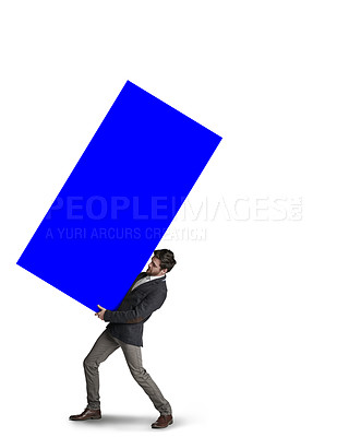 Buy stock photo Shot of a businessman carrying a heavy load against a white background