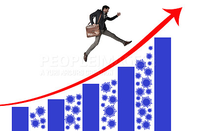 Buy stock photo Shot of a businessman carrying a bag and running above a graph against a white background