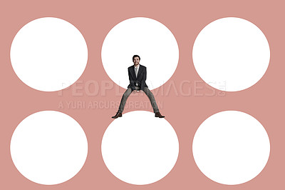 Buy stock photo Shot of young businessman superimposed on a background of circles
