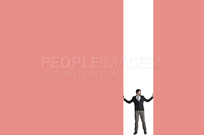Buy stock photo Shot of a businessman caged in against a pink background