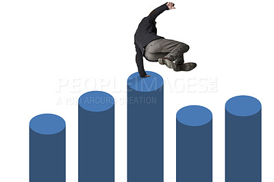 Buy stock photo Shot of a businessman jumping over a graph against a white background