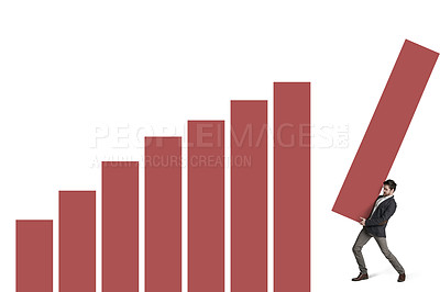 Buy stock photo Shot of a businessman building a graph against a white background