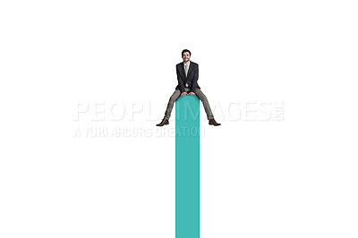 Buy stock photo Shot of a businessman sitting on top of a graph against a white background