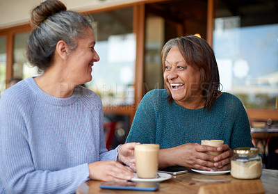 Buy stock photo Shot of two mature women using a laptop together at a cafe
