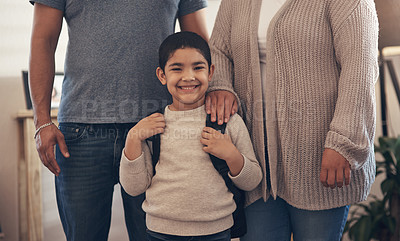 Buy stock photo Portrait of an adorable little boy ready to go to school with his parents