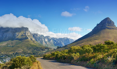 Buy stock photo The Lions Head, Table Mountain and the twelve apostles - Cape Town, Western Cape