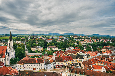 Buy stock photo Shot of the town of Melk in Austria